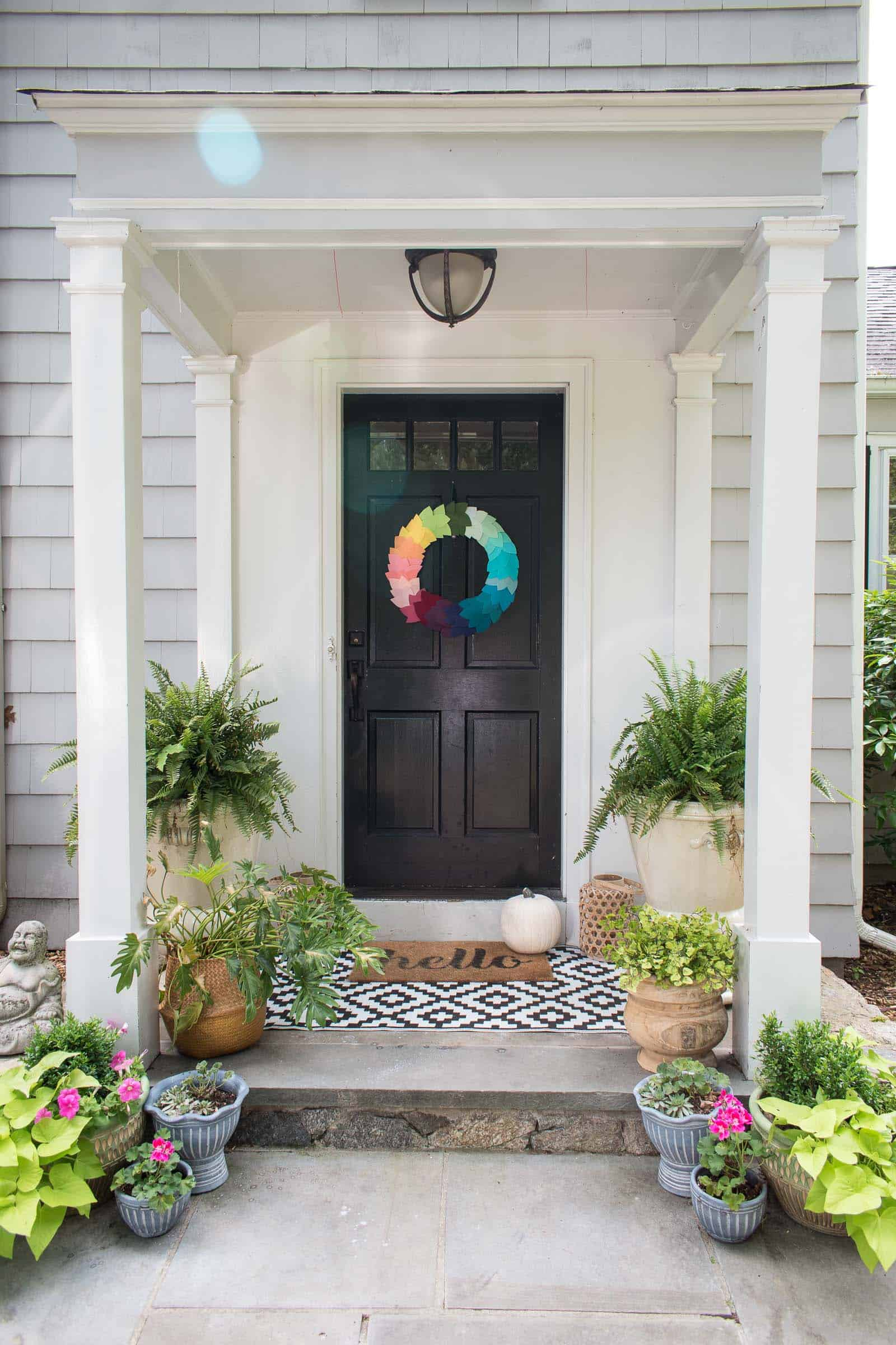 diy rainbow leaf wreath