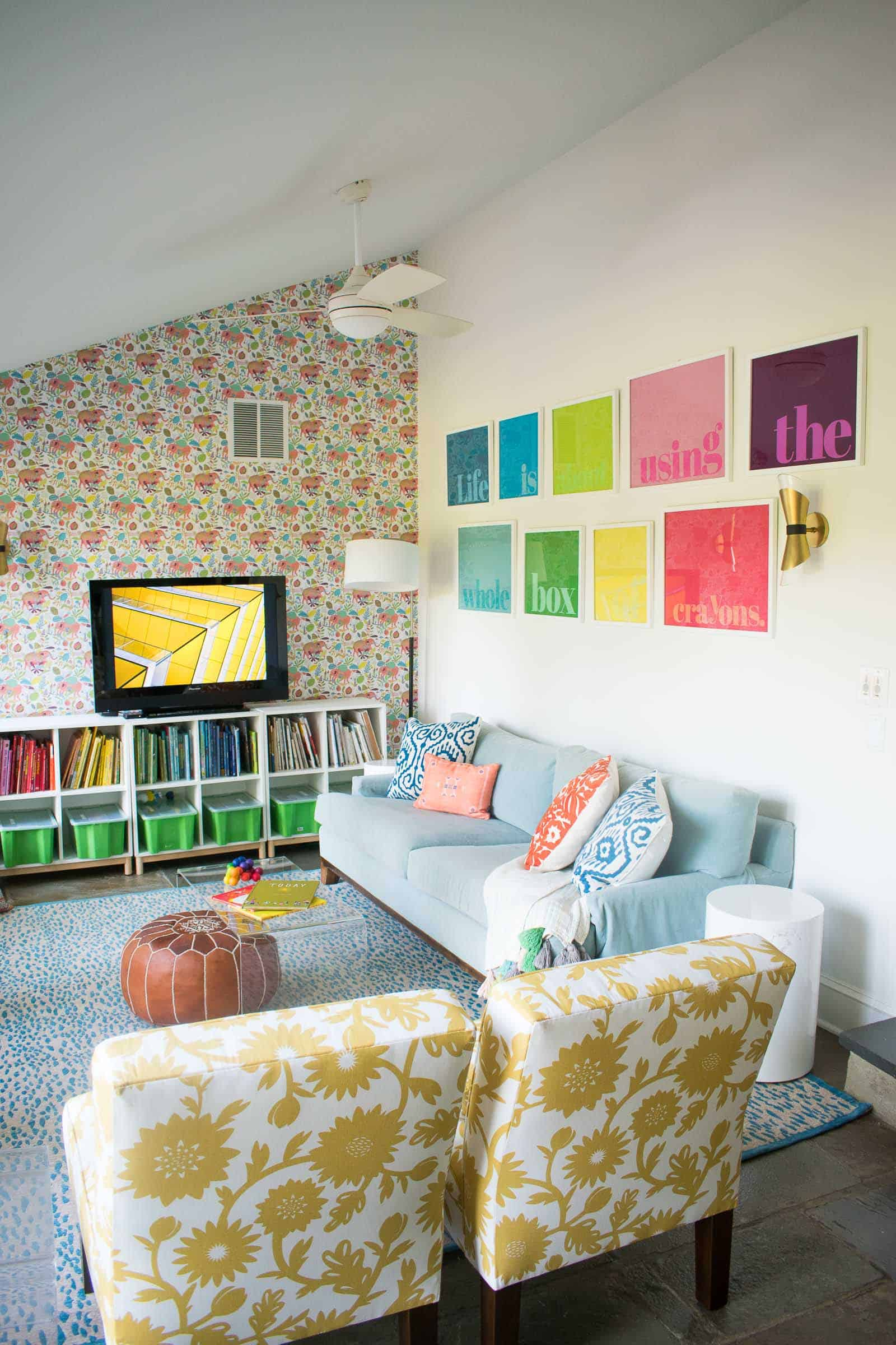 colorful gallery wall in playroom