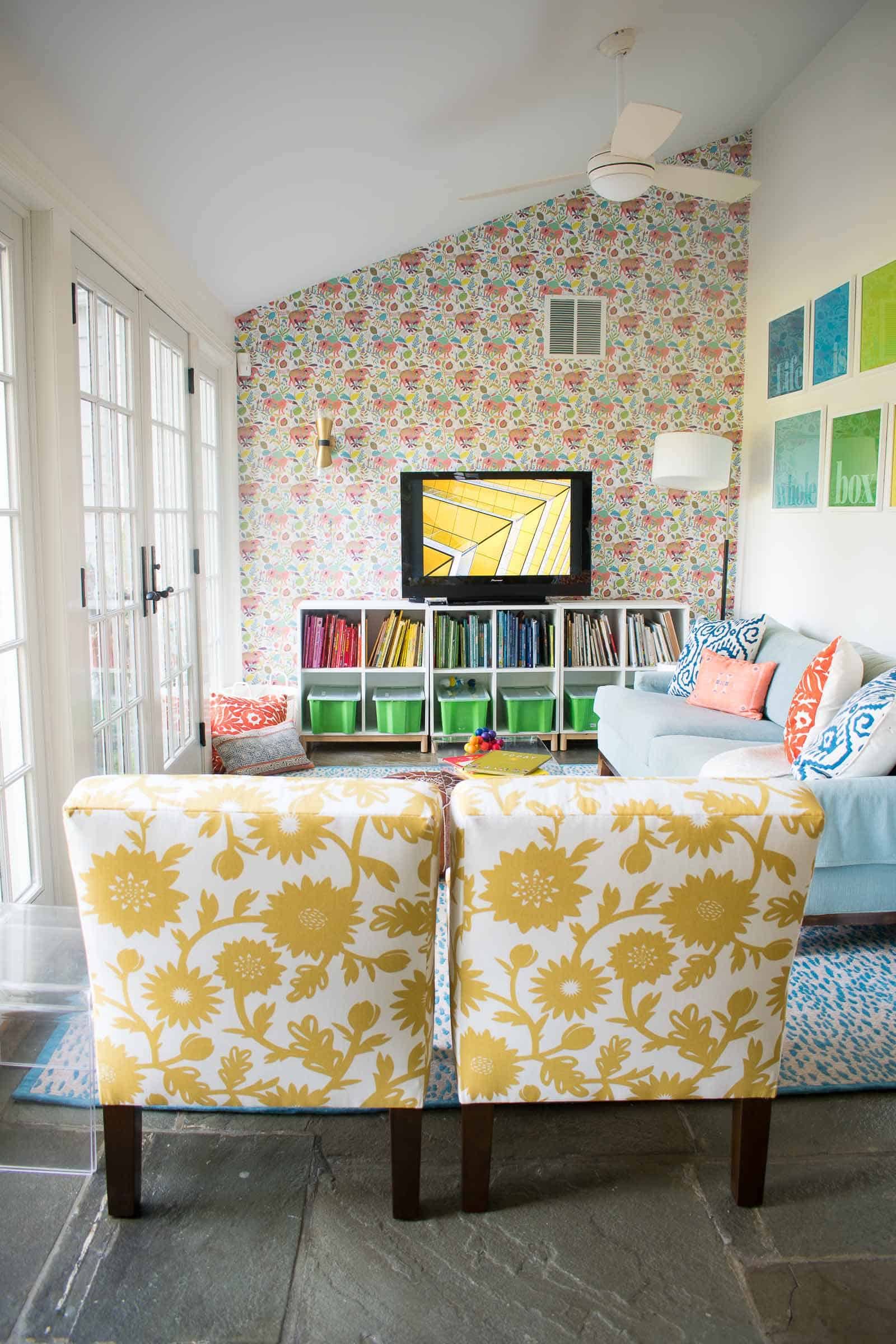 yellow patterned slipper chairs