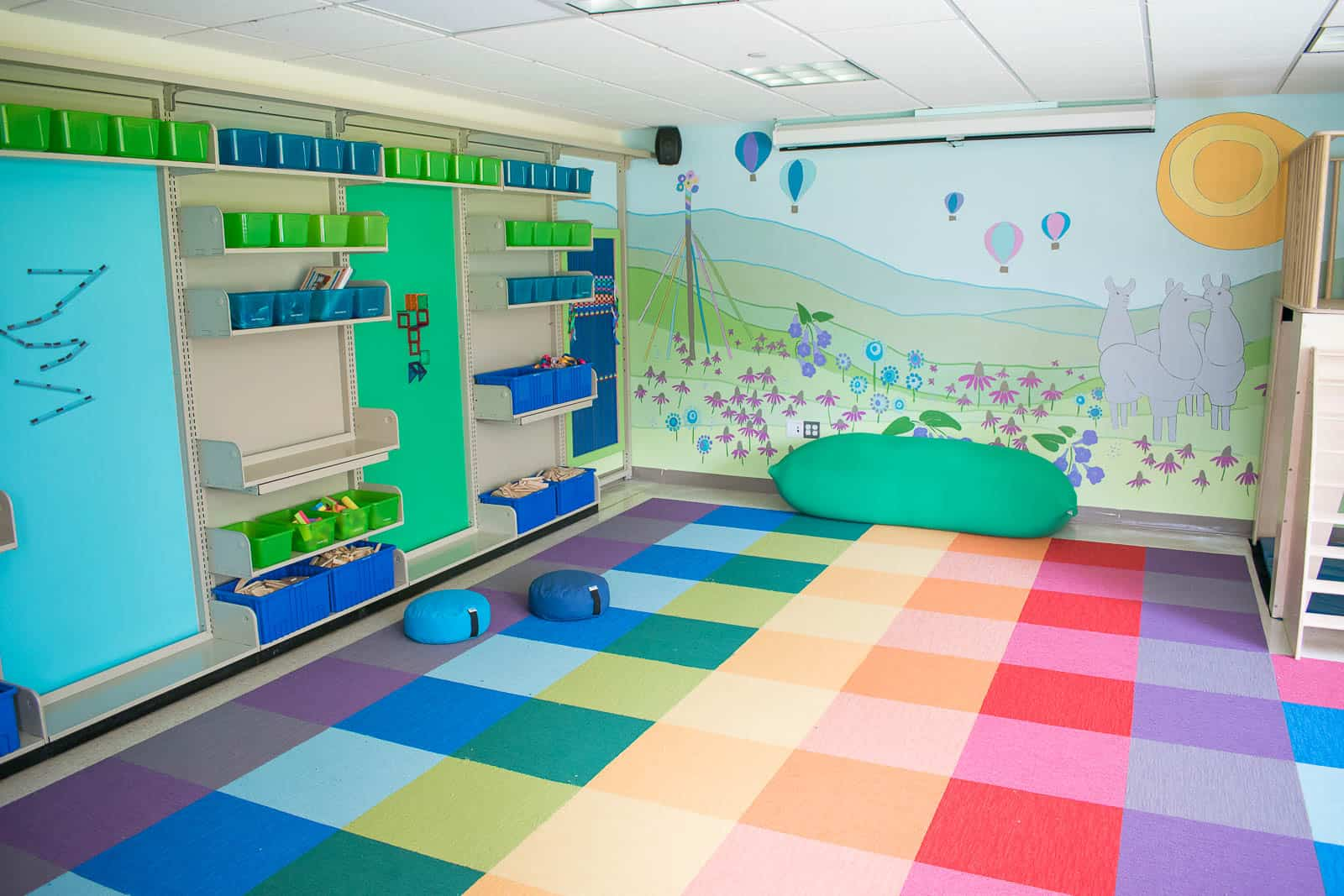 colorful carpet tiles in library classroom