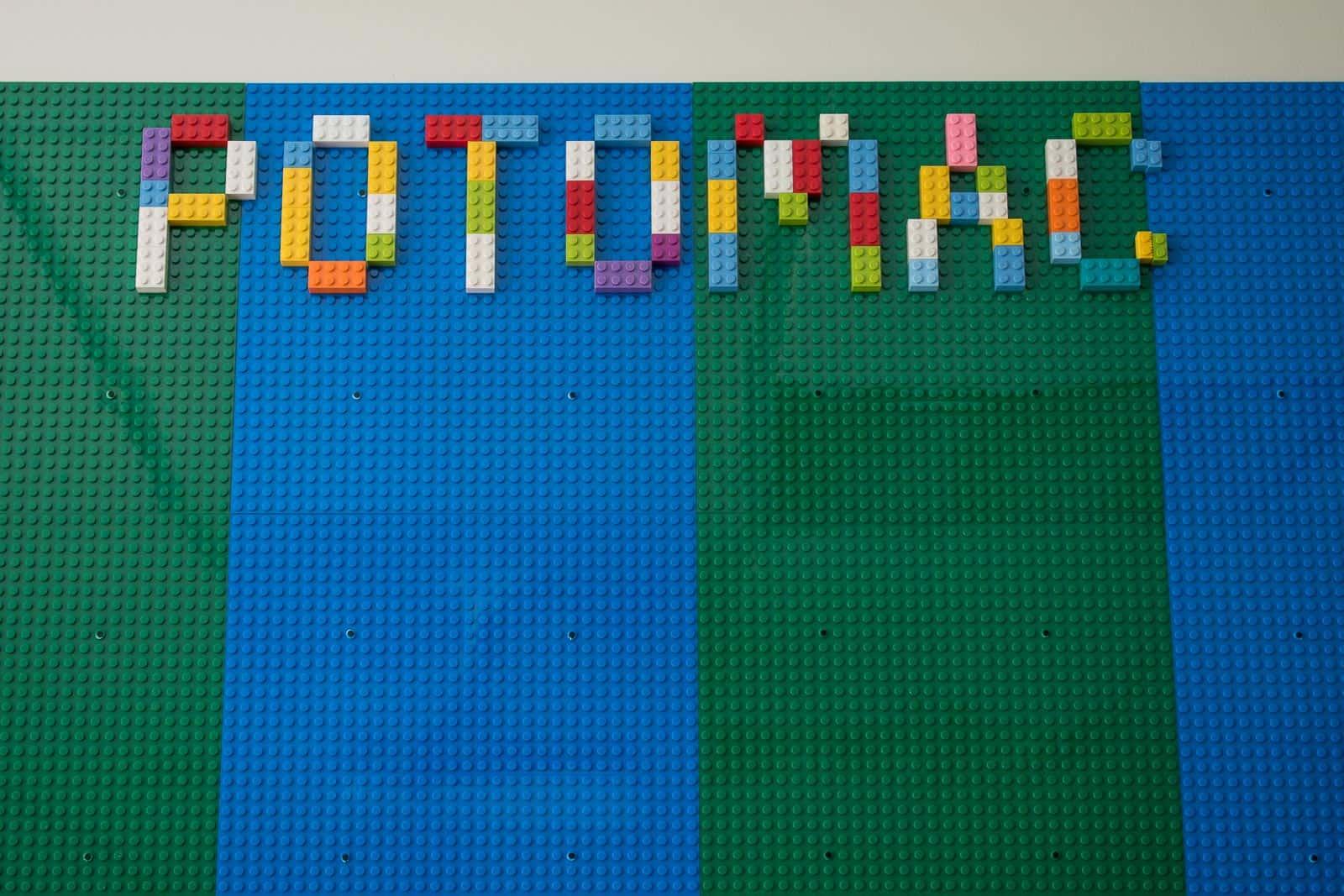 vertical lego wall in school classroom