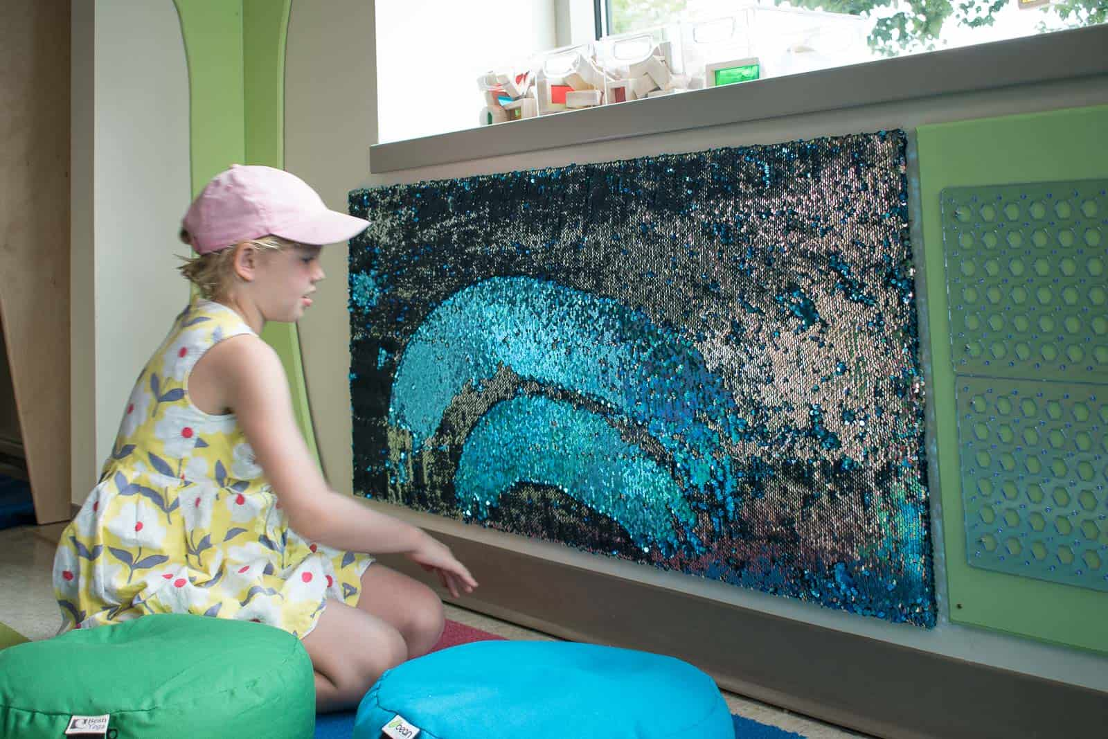 mermaid sequin sensory panel for maker space