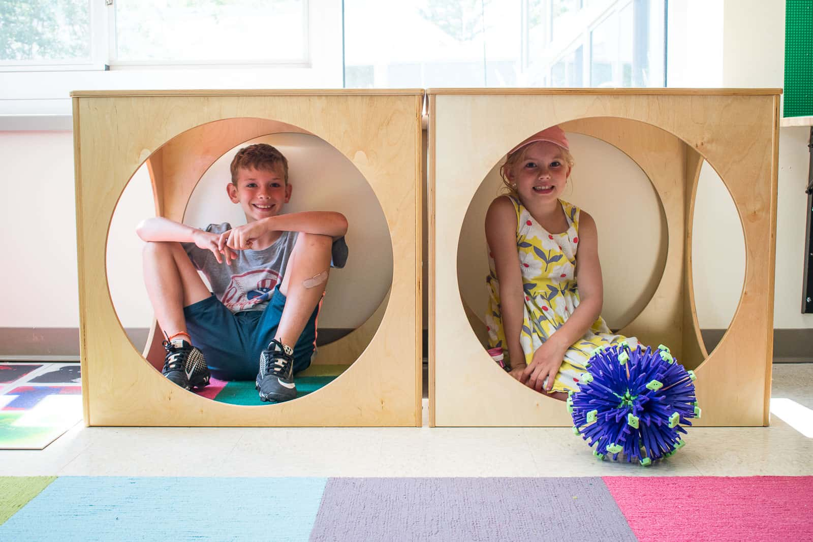 wooden cube reading nooks in classroom library