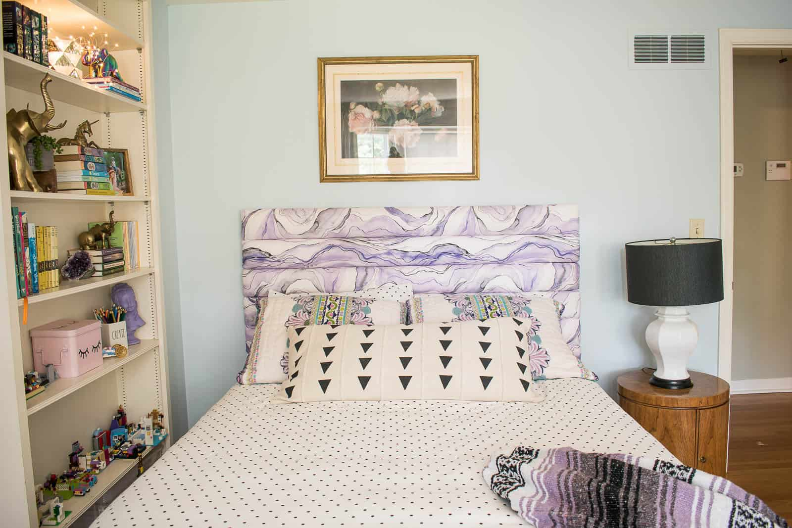 upholstered purple headboard