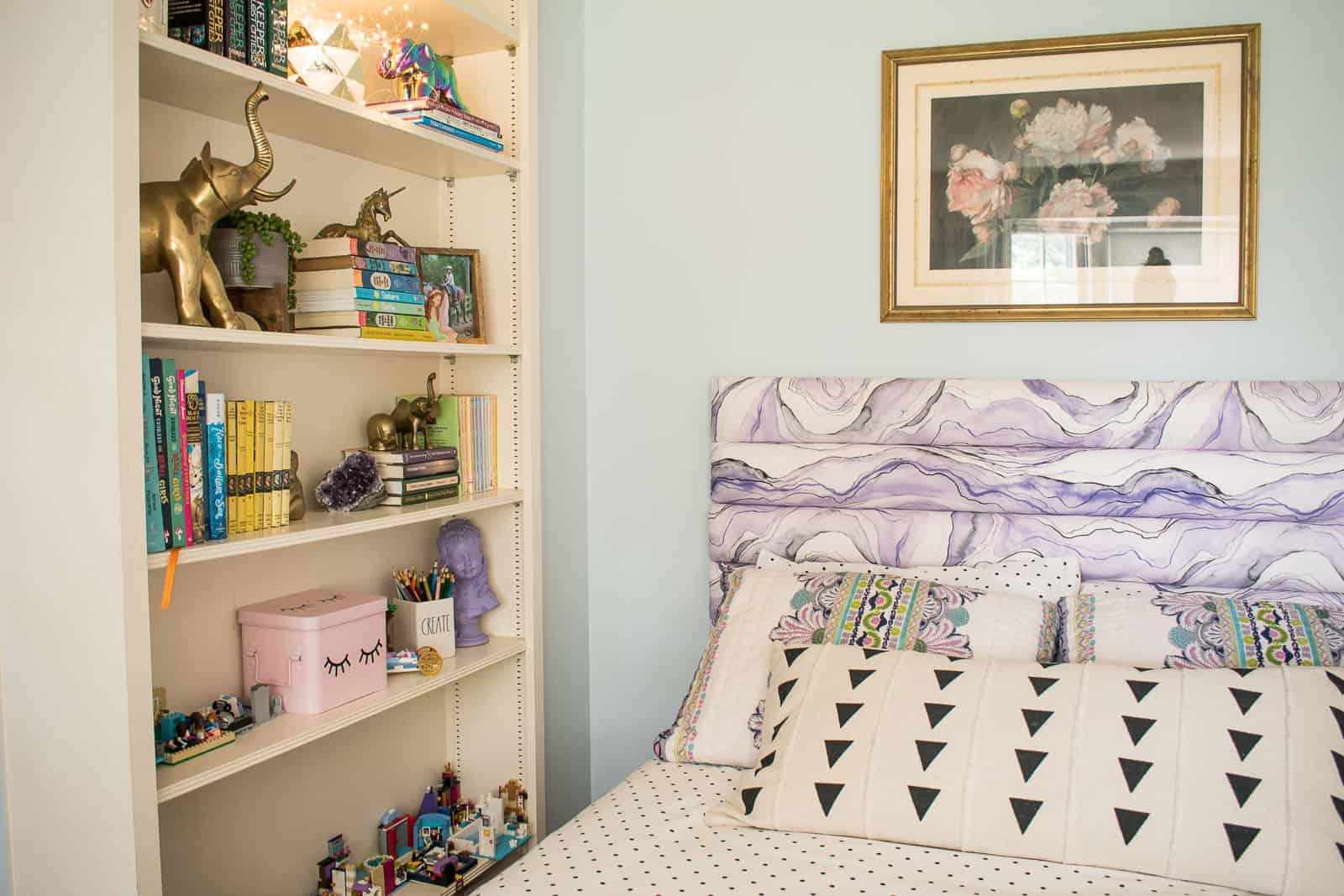 purple tufted headboard