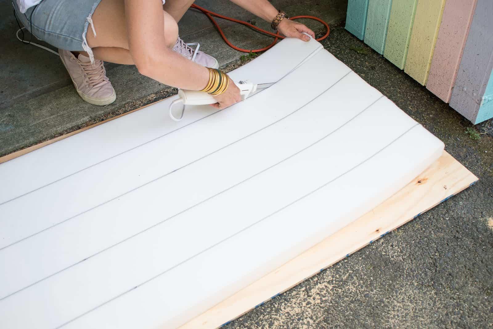 cut foam for upholstered tufted headboard