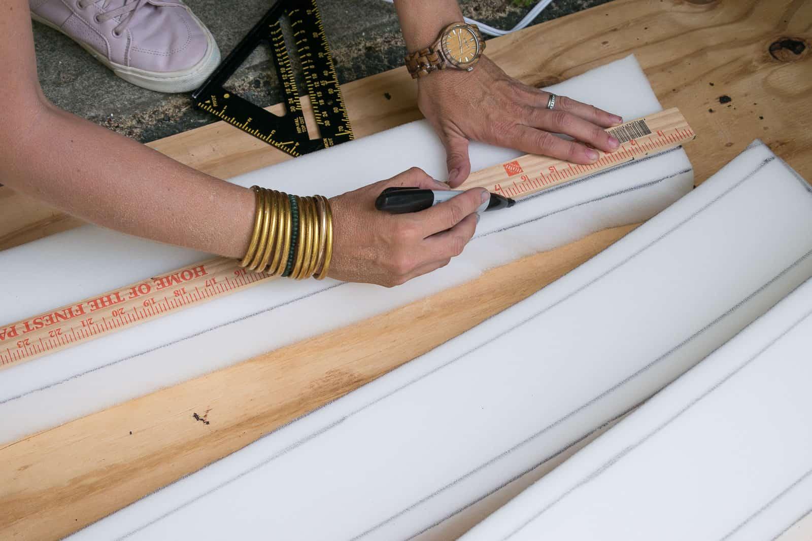 cut foam strips for tufted headboard