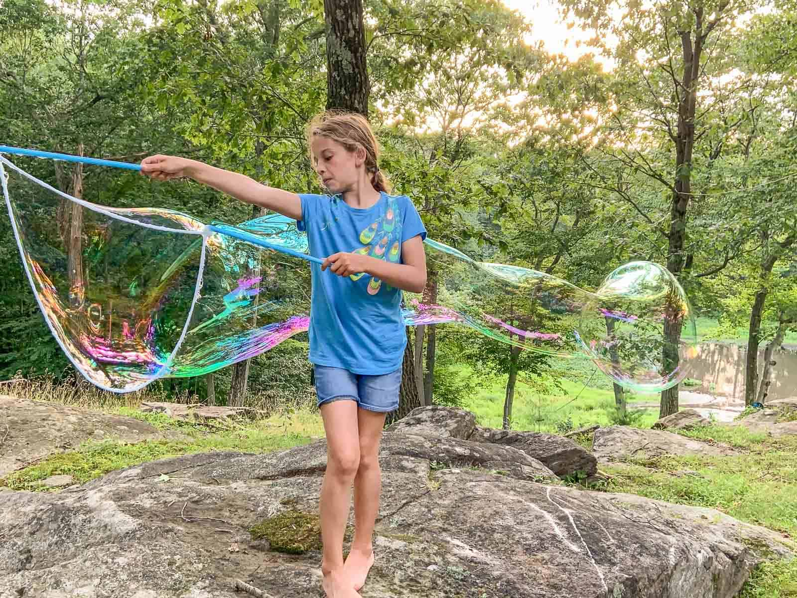 giant bubbles in our backyard
