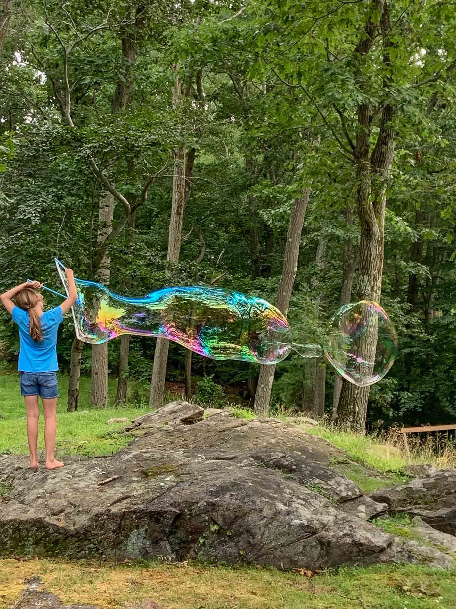 blowing giant backyard bubbles