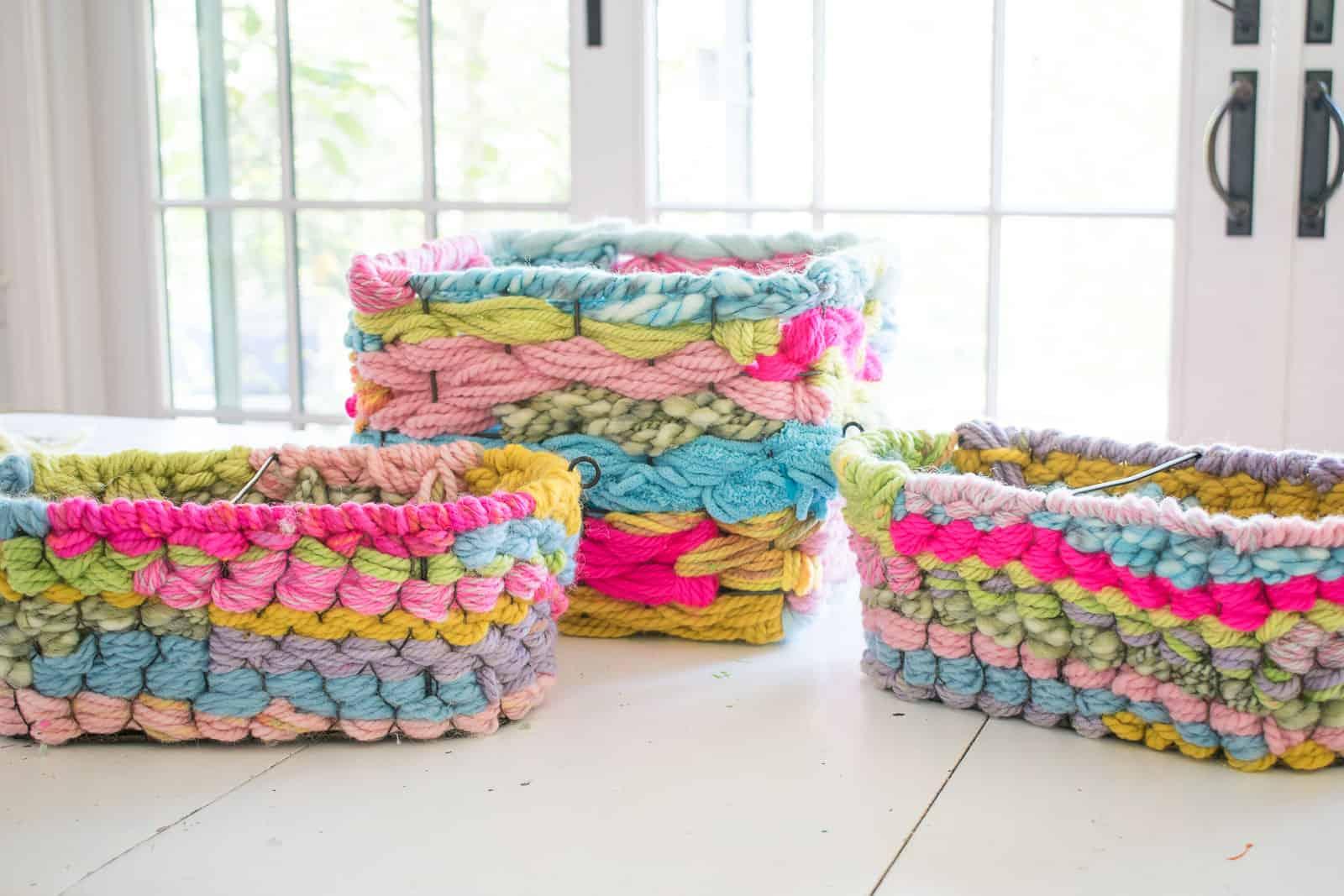 woven yarn baskets