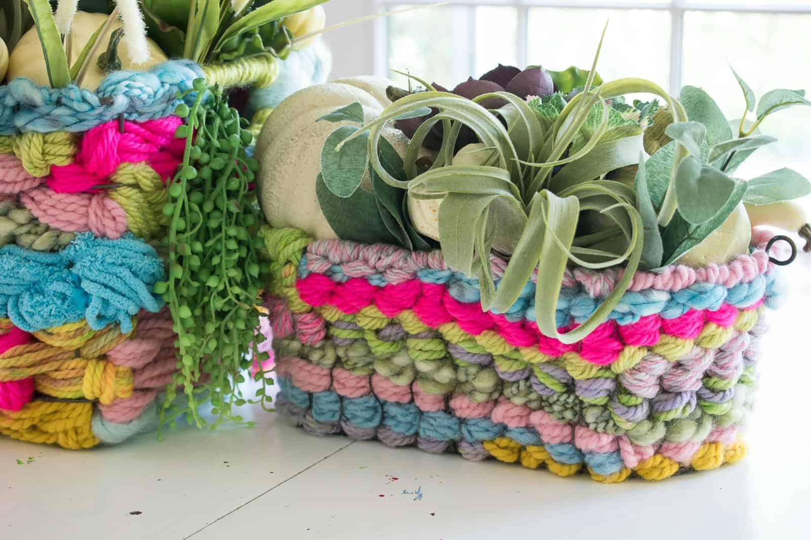 succulents added to woven baskets