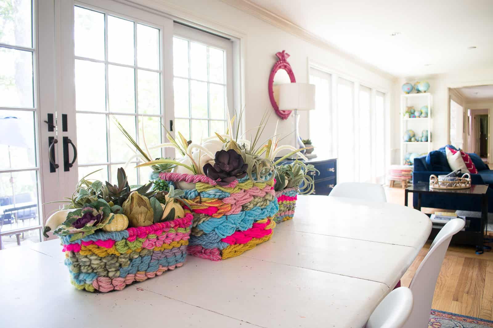 fall florals in yarn woven baskets