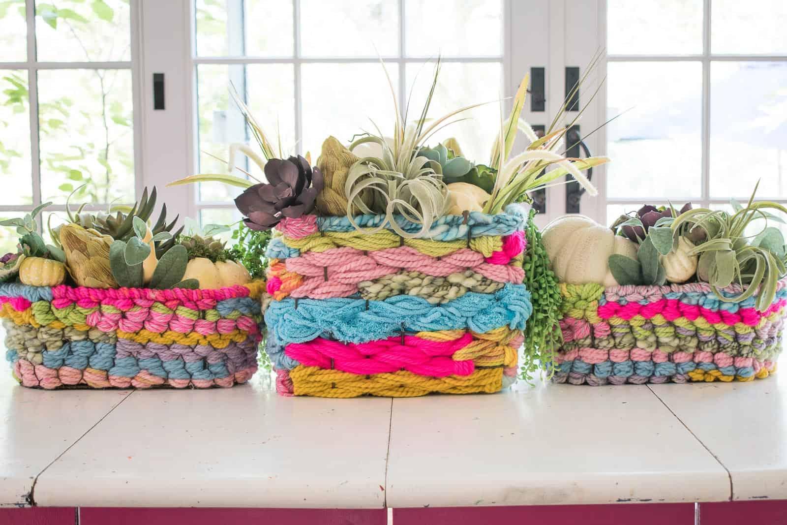 Yarn woven basket centerpiece