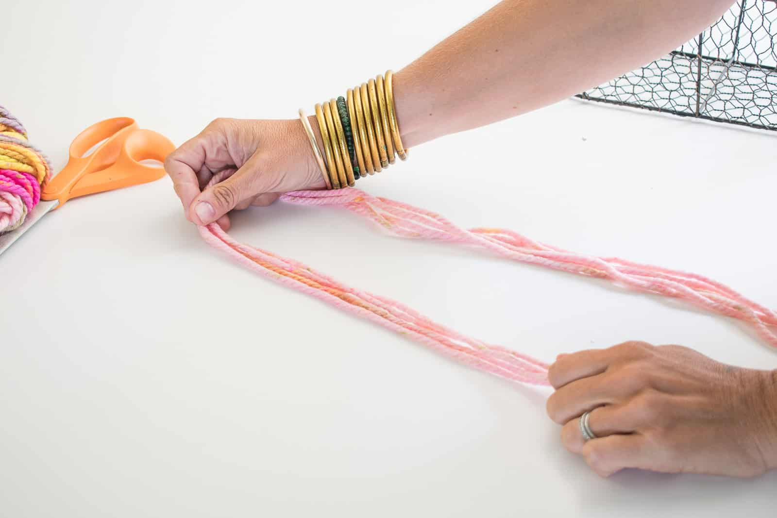 double or quadruple strands of yarn
