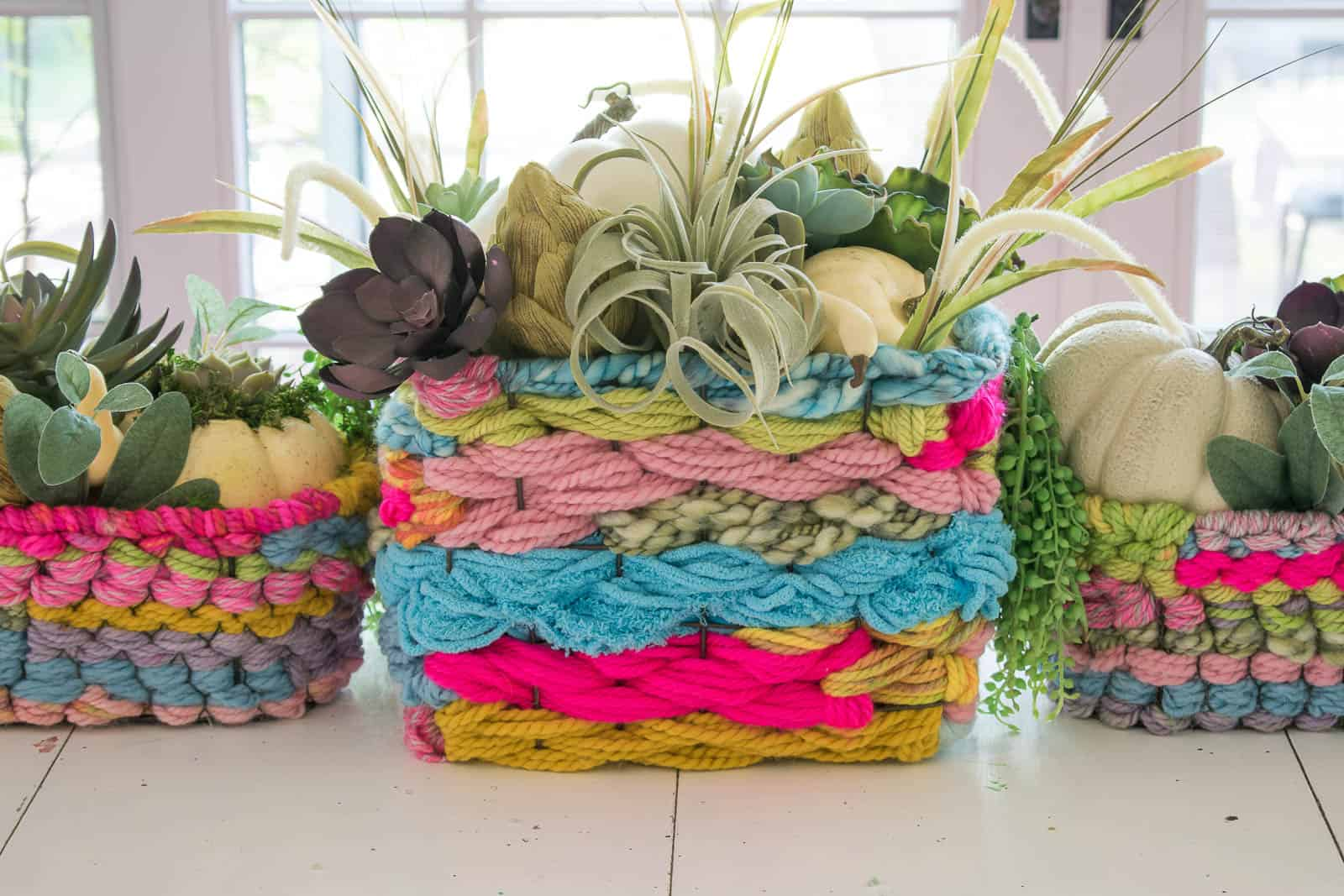 woven basket with succulents