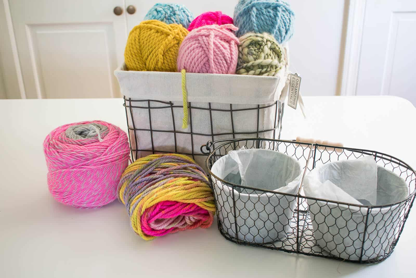 baskets with yarn