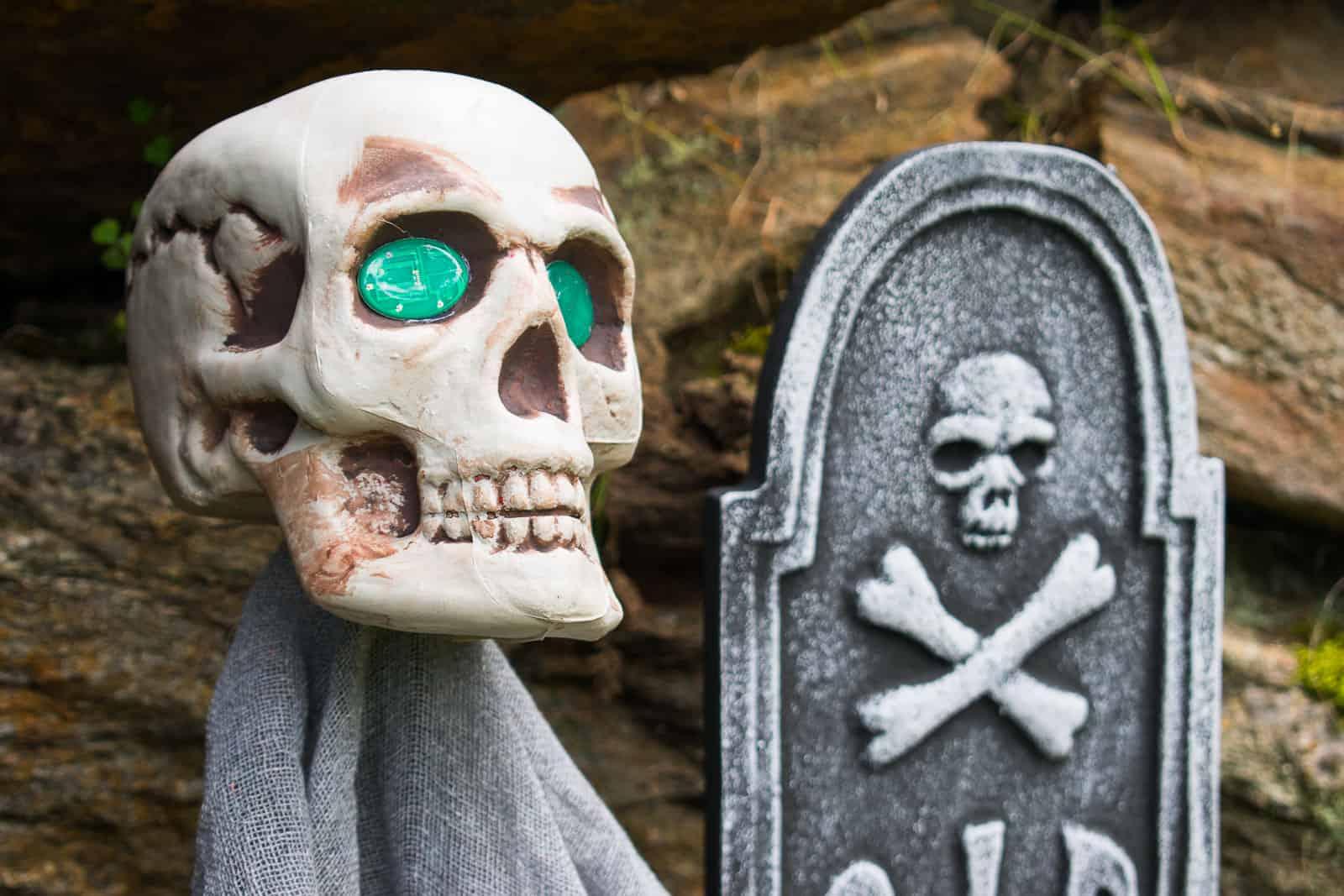 skulls on stakes for halloween decor