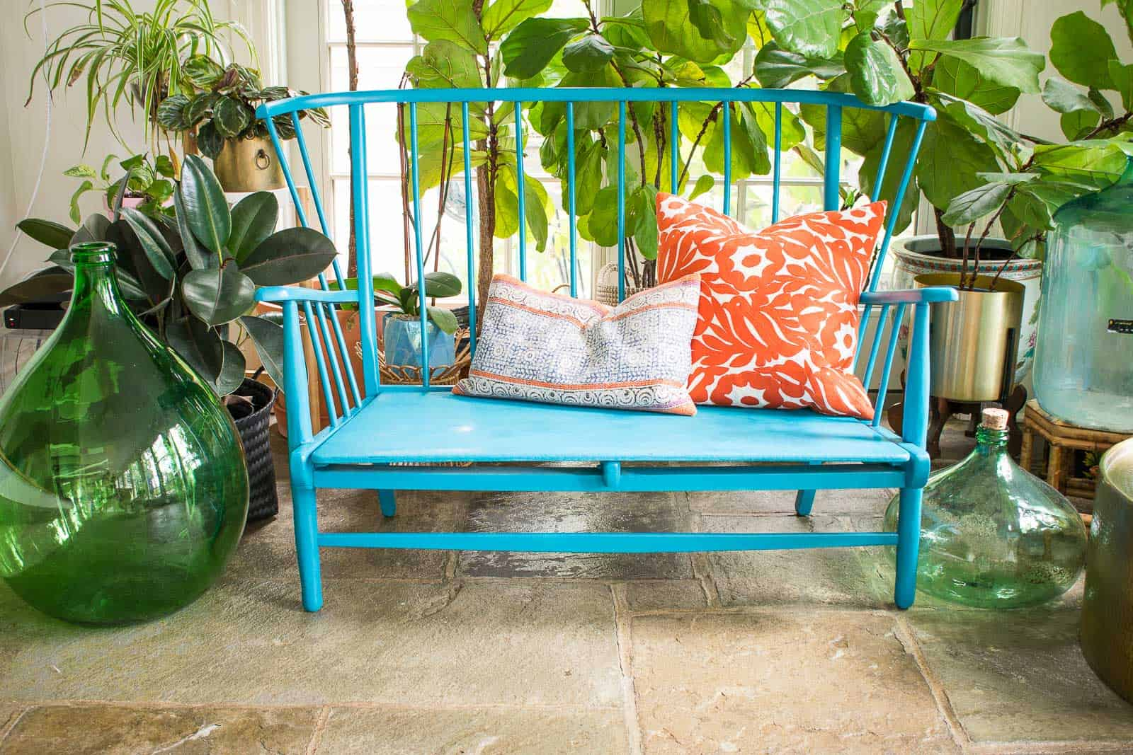 colorful bench makeover with epoxy putty
