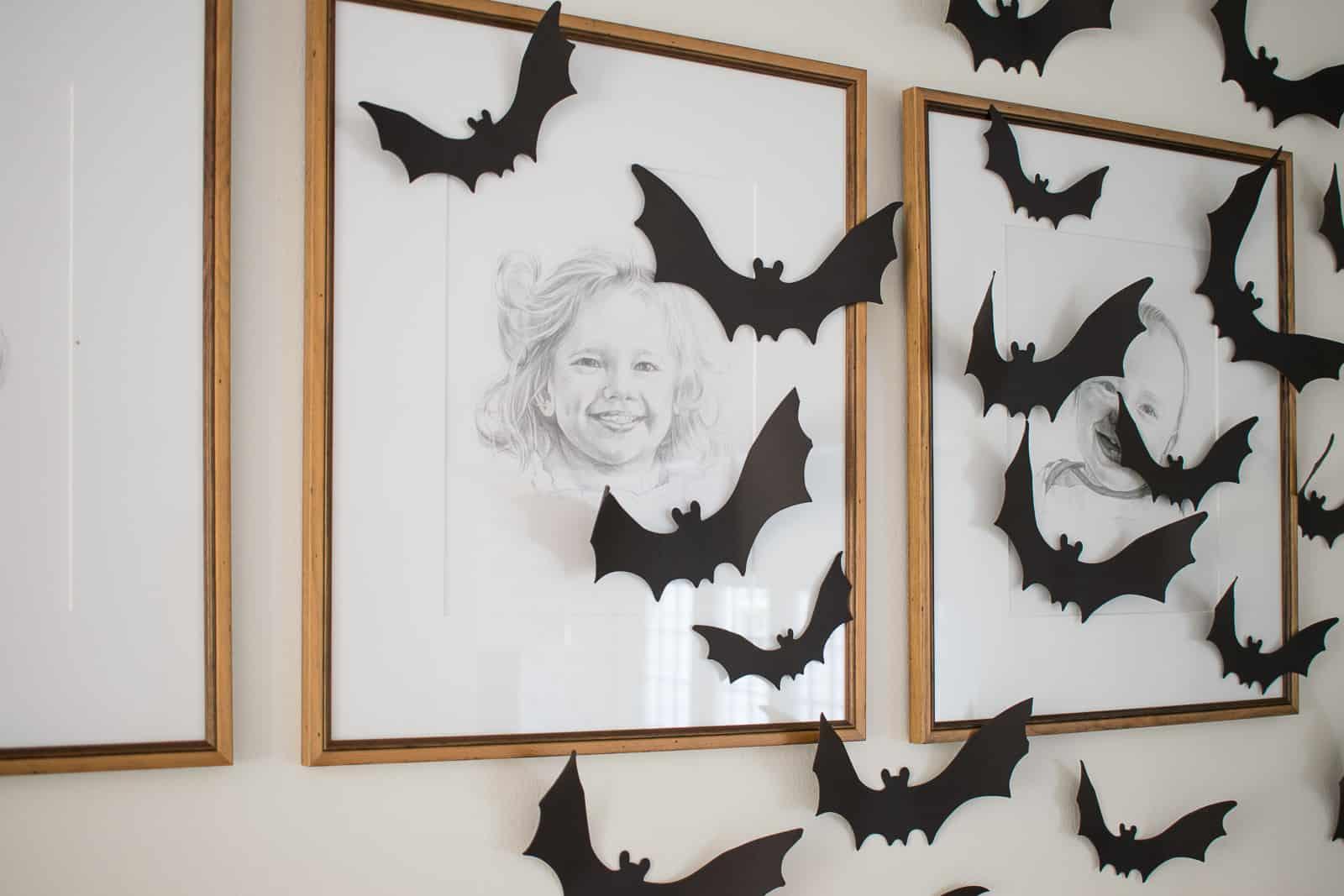paper bats on halloween mantel