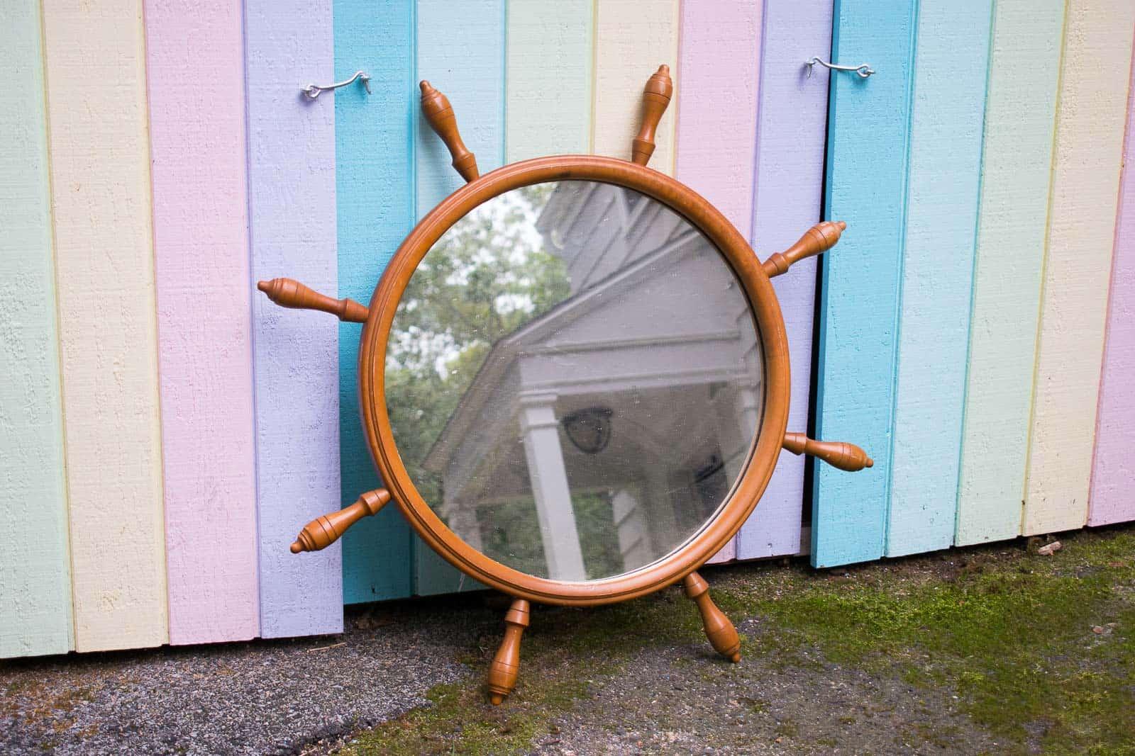 wooden nautical mirror
