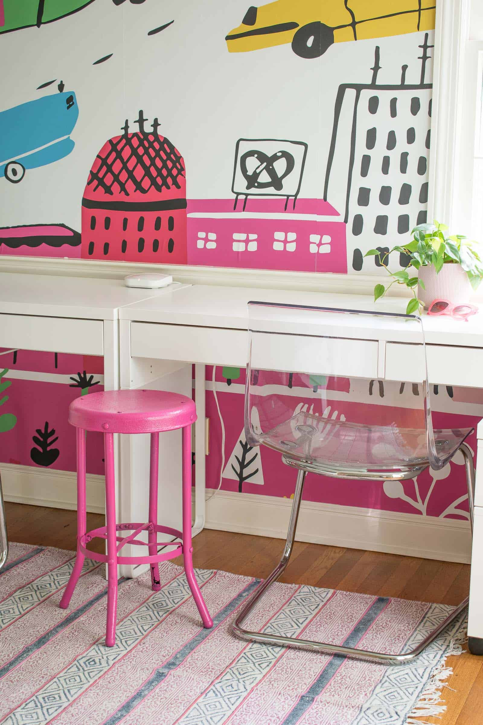 spray painted pink stool