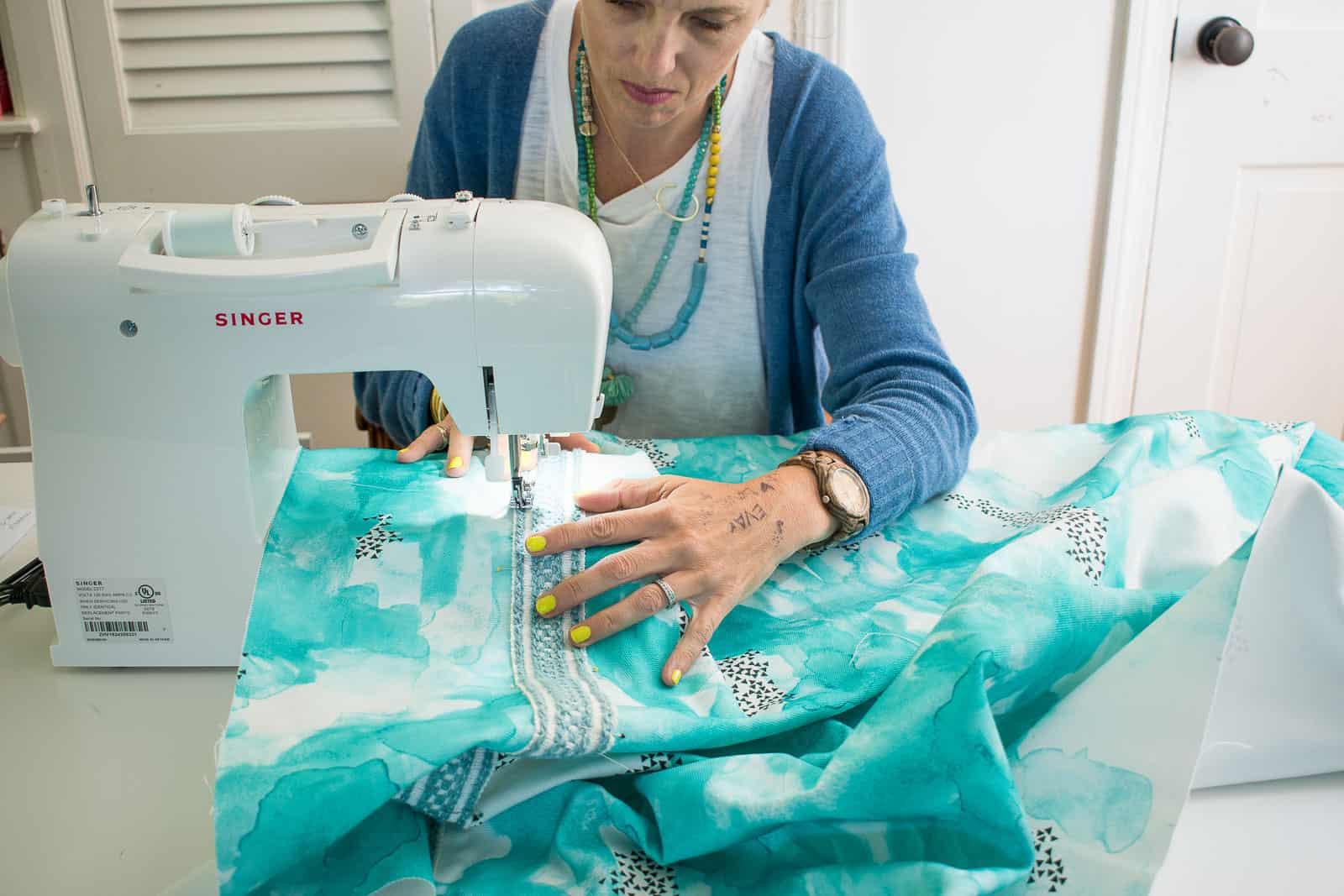 sewing trim onto fabric