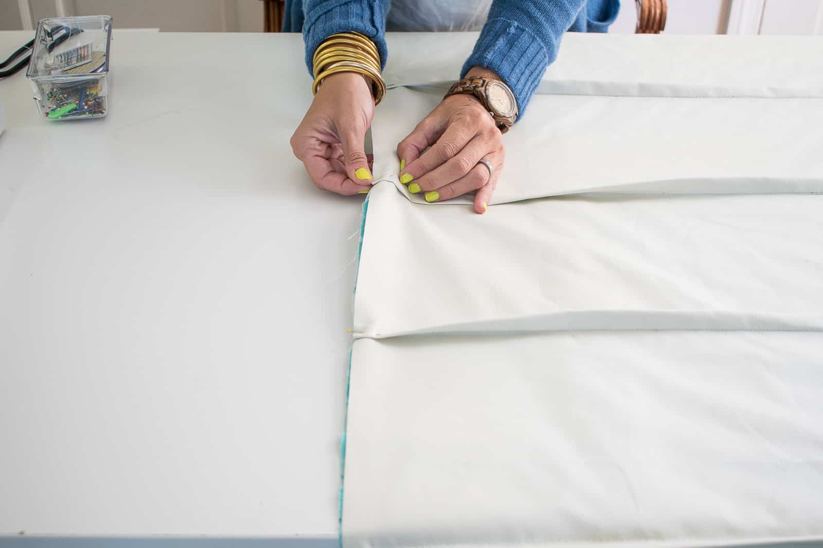 pinning liner to fabric for roman shades