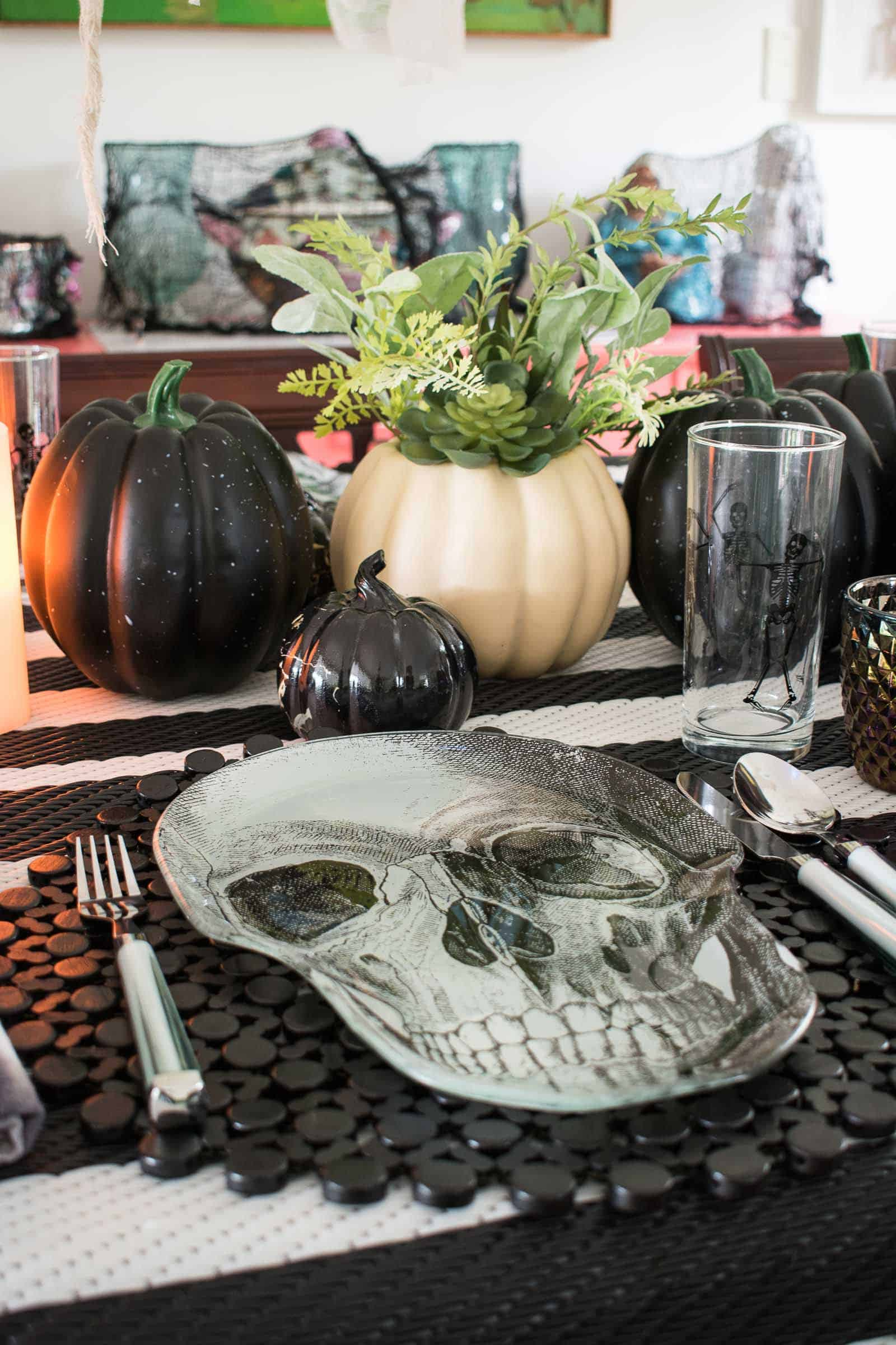 white pumpkins as centerpiece
