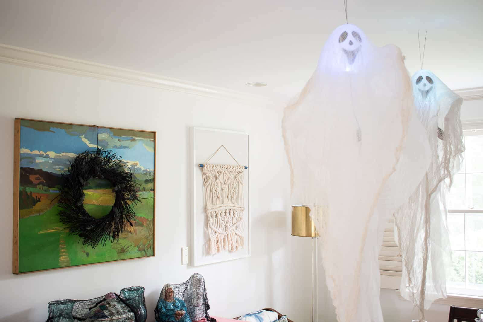 gauzy ghost hanging from ceiling
