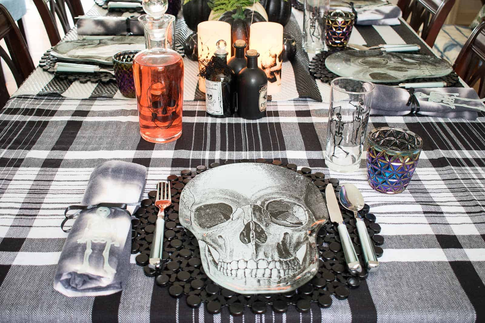 skeleton plate at halloween table