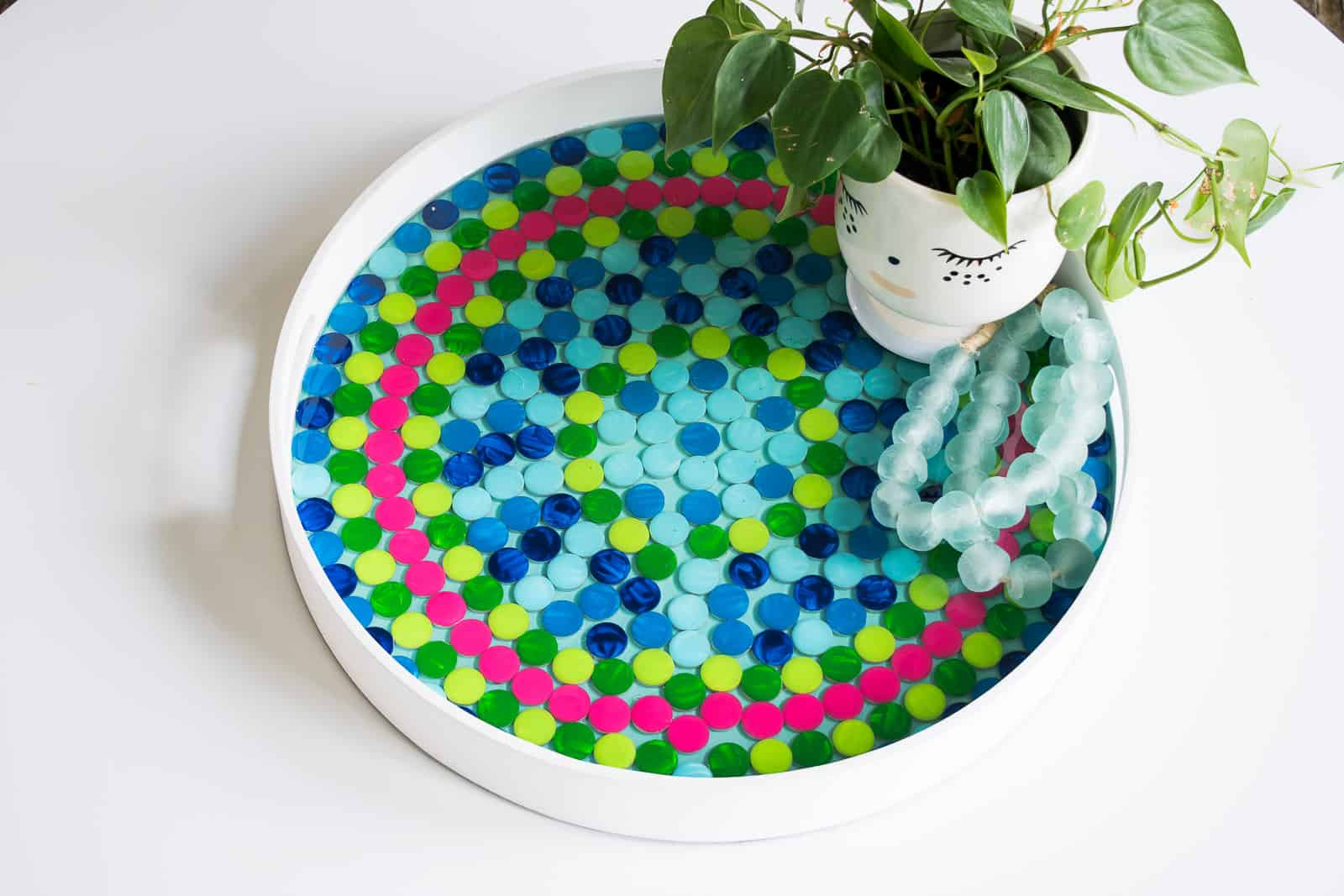 enamel painted penny tile tray