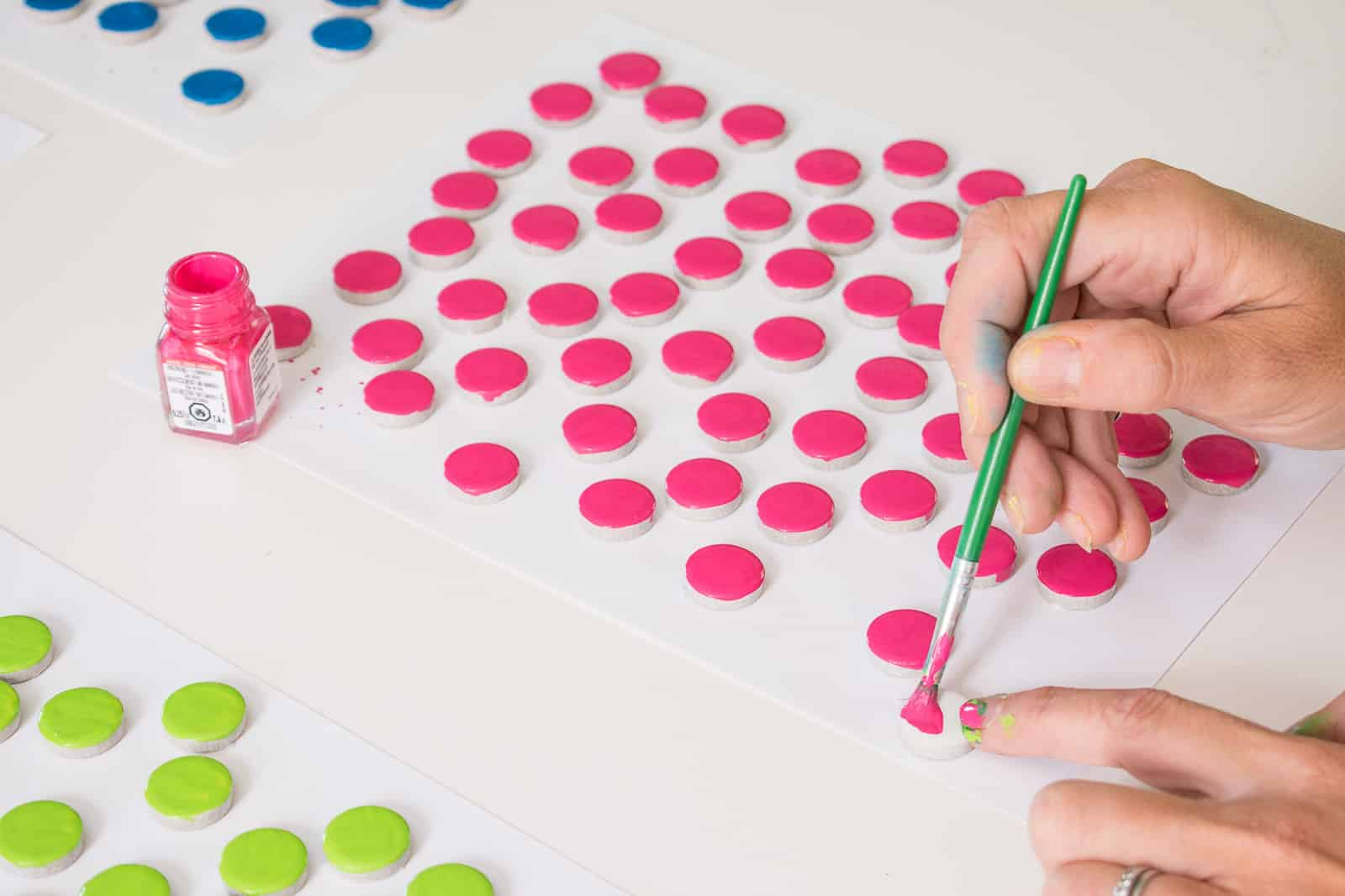 paint penny tiles with enamel paint