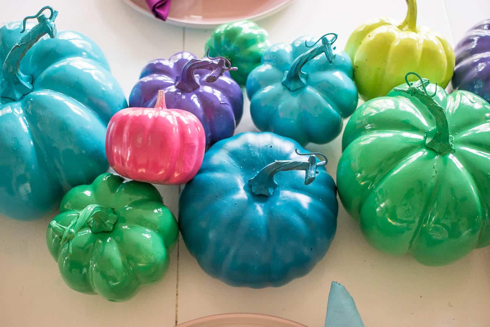 colorful pumpkin centerpiece
