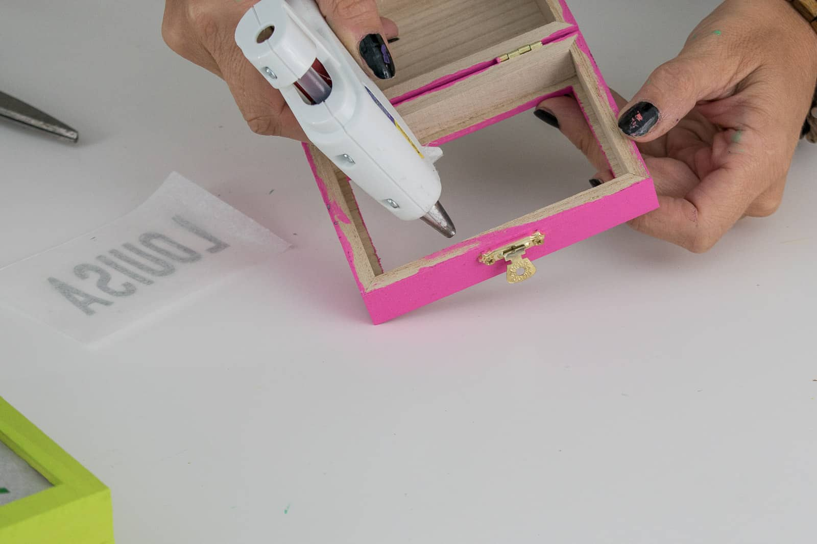 use a glue gun to adhere tracing paper
