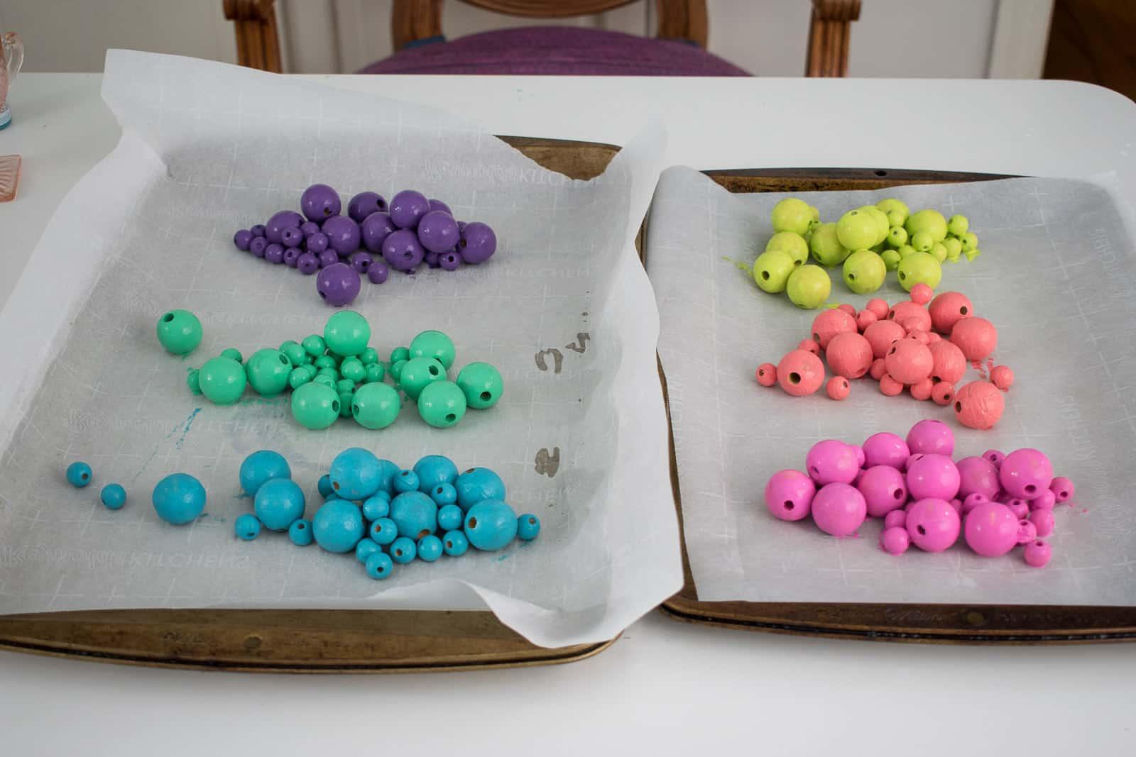 pour the beads onto parchment paper