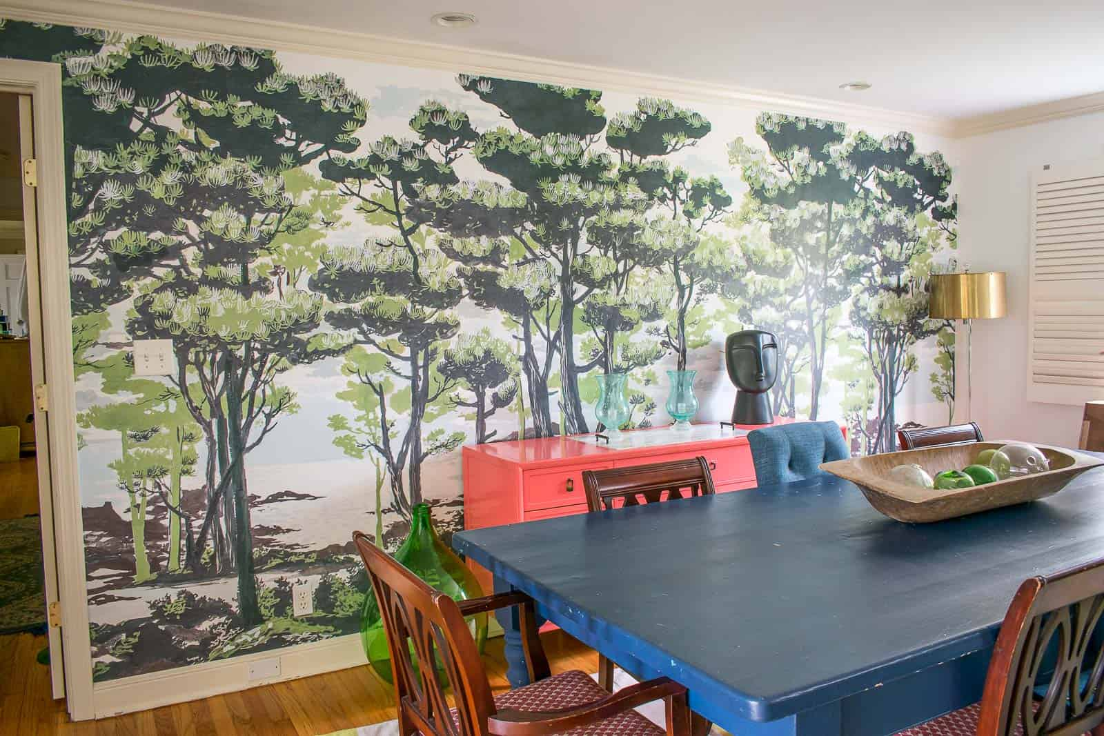 enchanted forest mural in the dining room