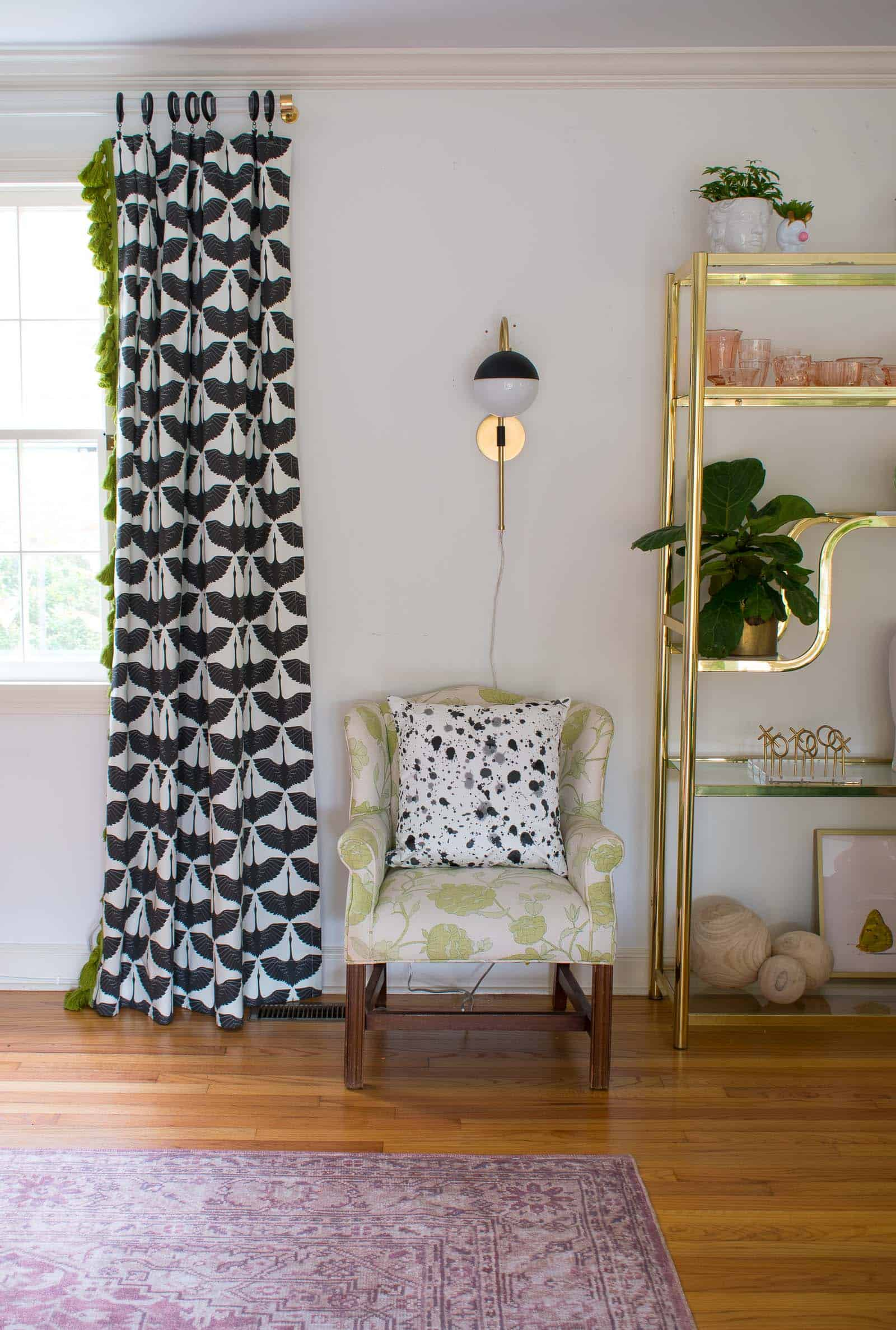 sconces over the armchairs