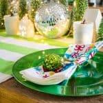 using disco balls on our christmas table