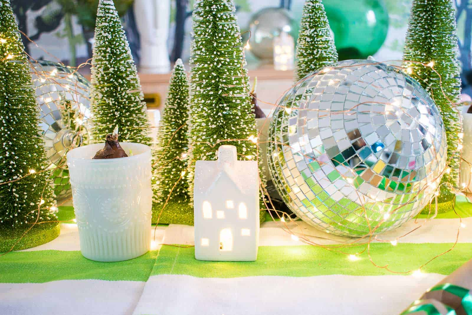 white twinkle house centerpiece