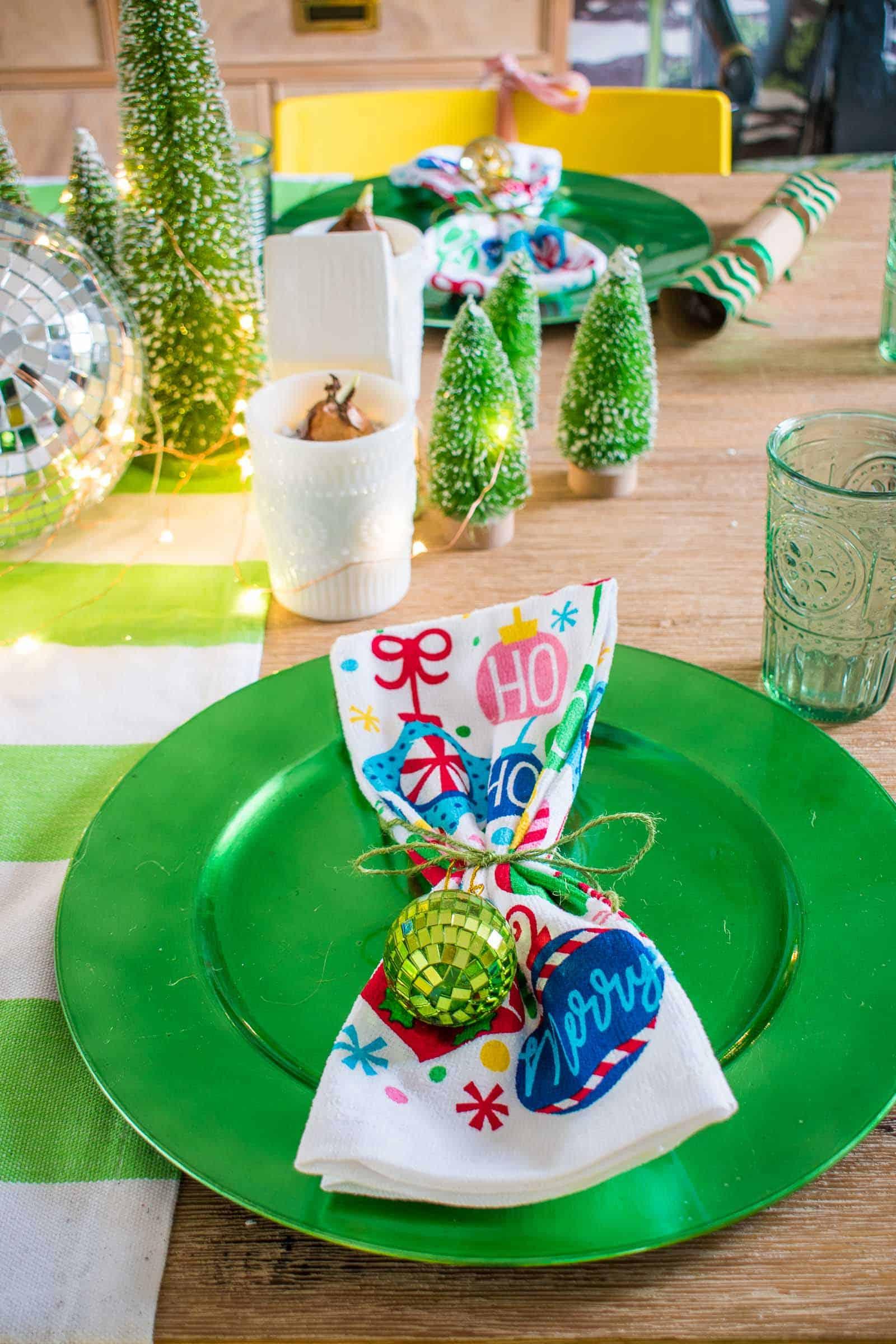 christmas dishtowel at table setting