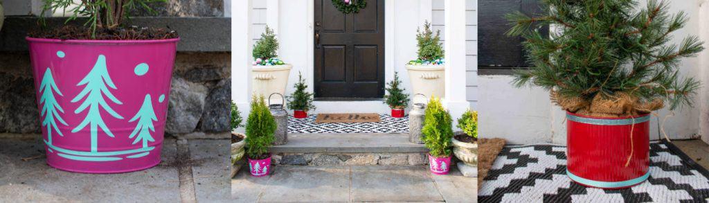 colorful christmas planters