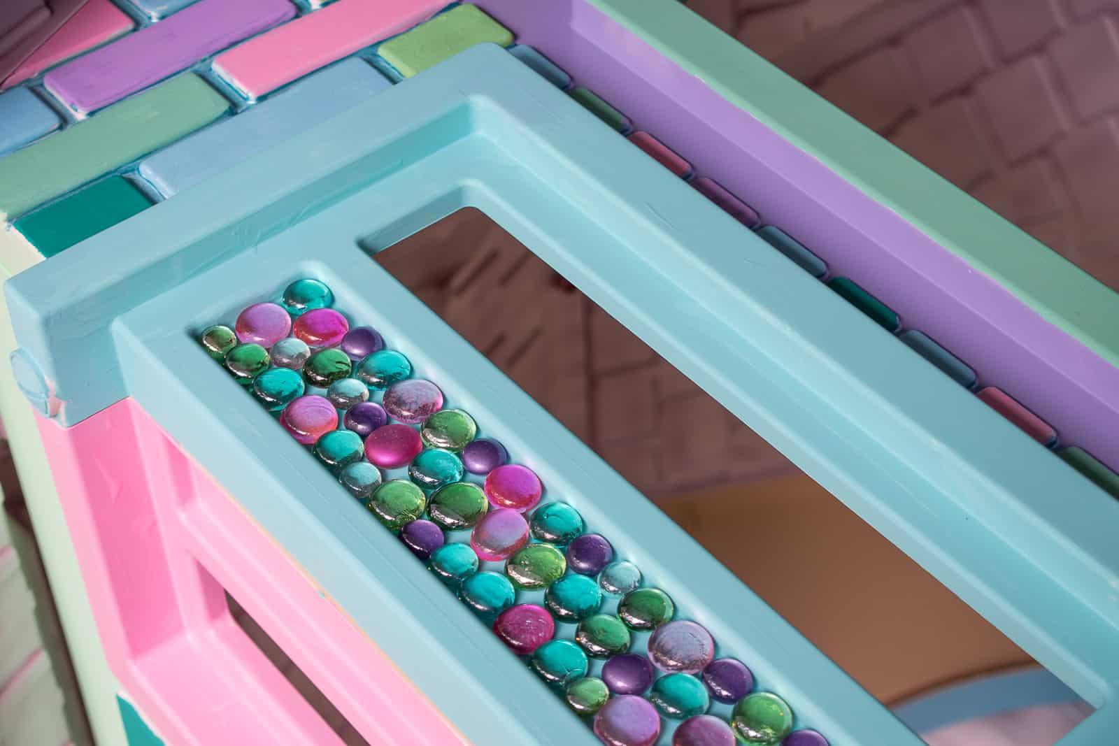 glued glass beads