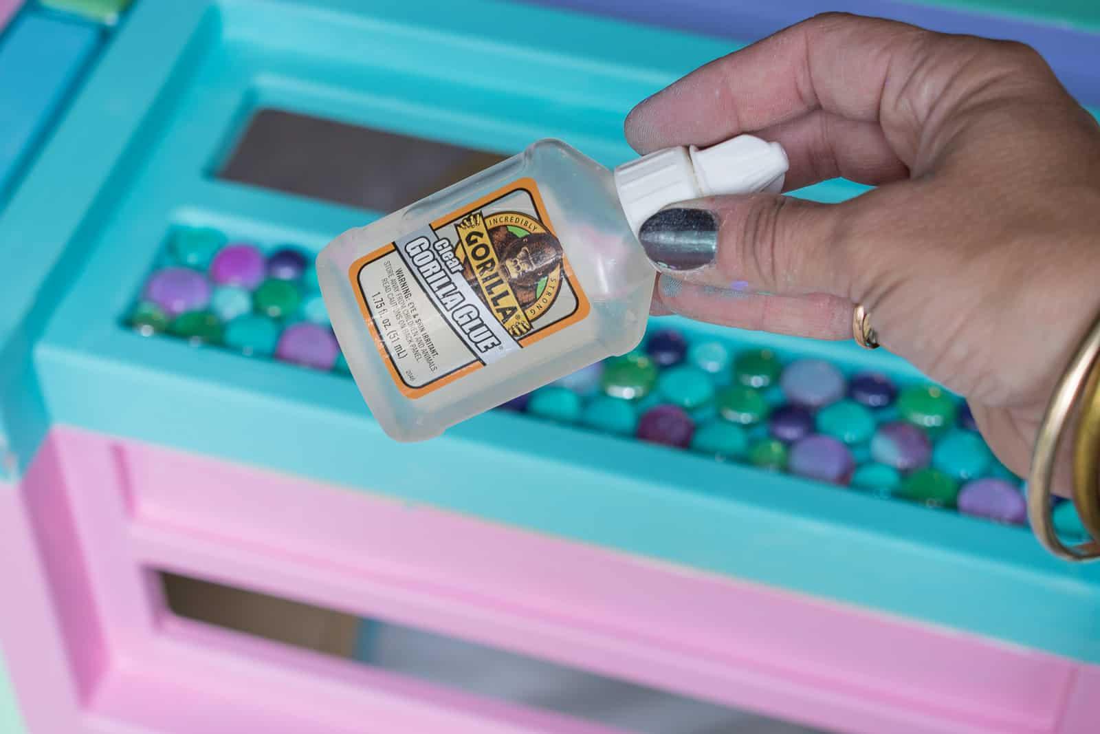 using gorilla glue to attach the gems