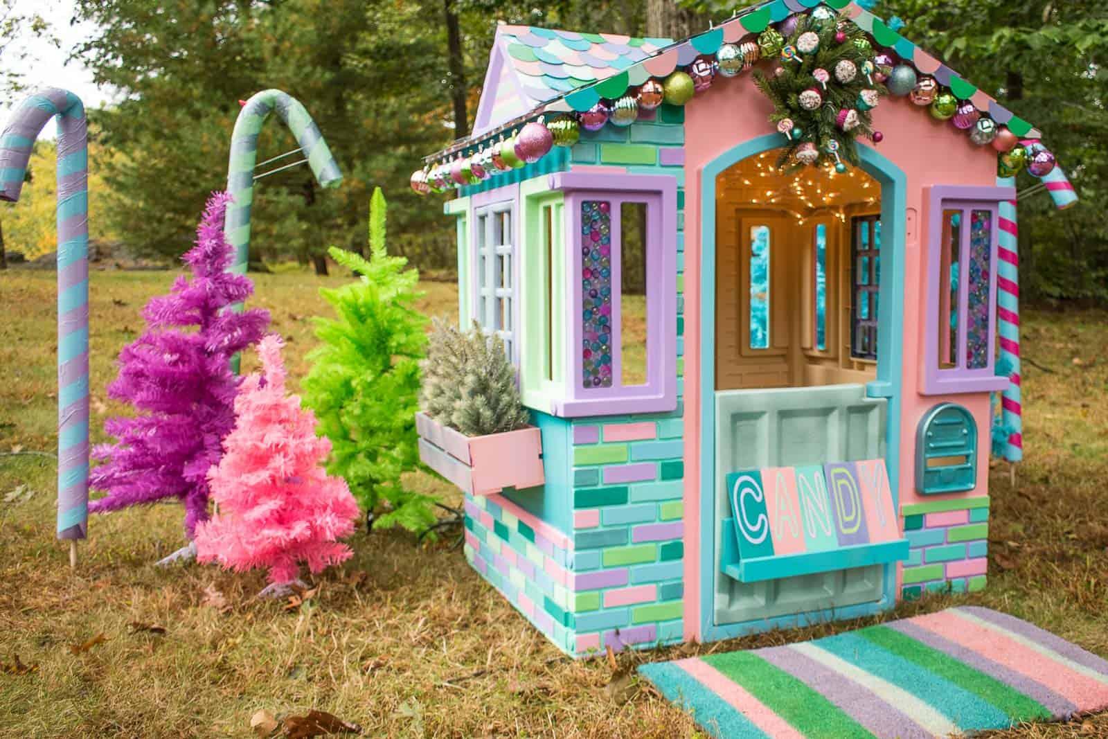 colorful playhouse christmas makeover
