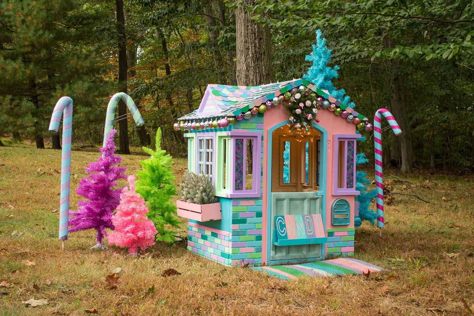 candy canes with playhouse