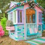 mini wreath above playhouse door