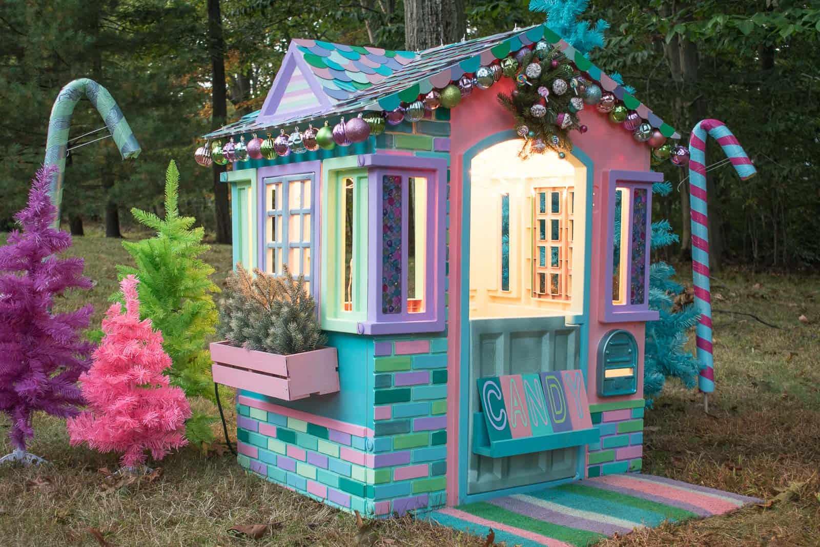 christmas playhouse at night