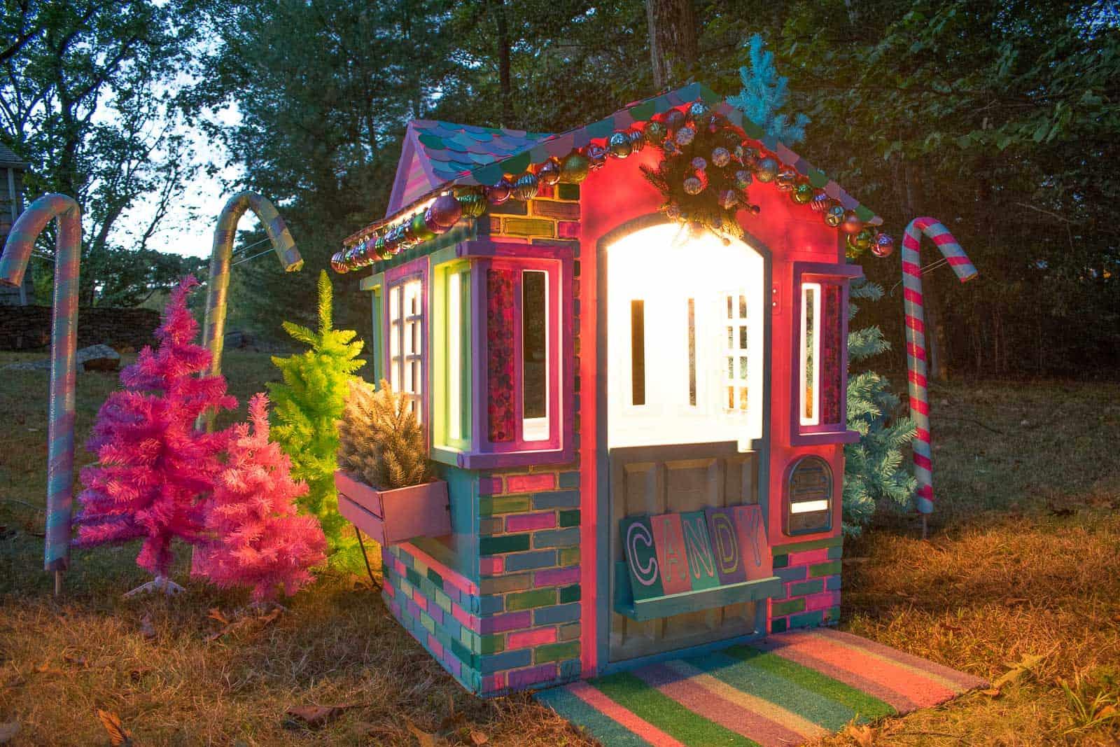 lights on christmas playhouse