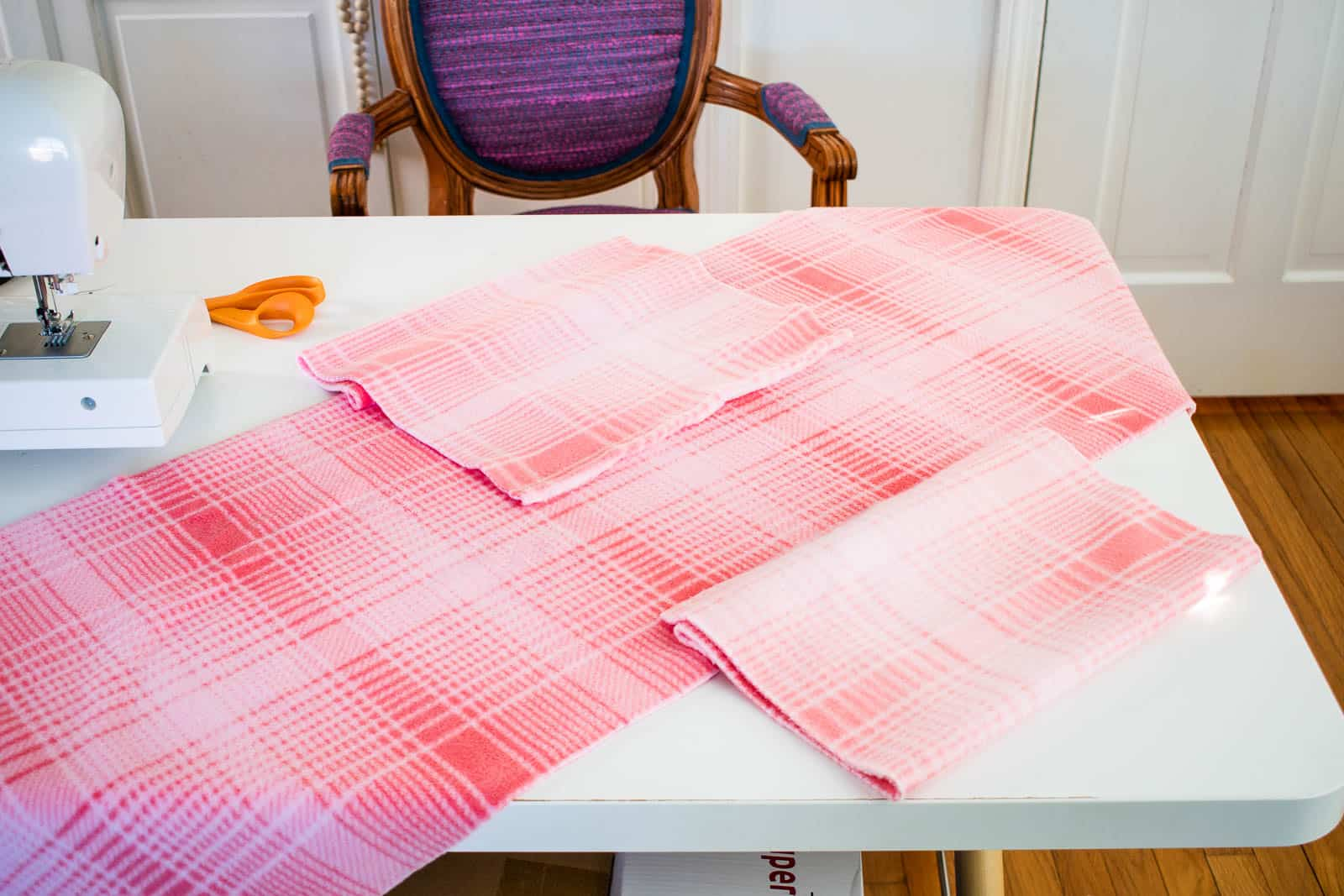 sewing the ends onto the slipcover