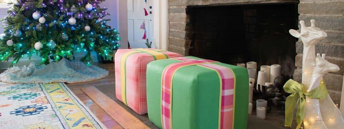 Christmas Present Upholstered Ottoman